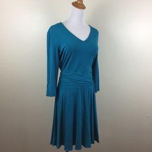 41HAWTHORN V Neck Belted Stretch Jersey Dress